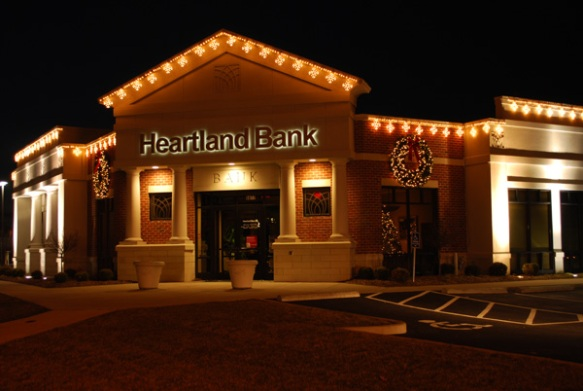 Commercial holiday lighting at bank