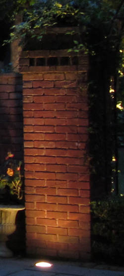 Home Projects Nashville Outdoor Lighting Perspectives - Brick column lit by flush mounted core drilled well light