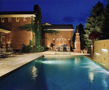 Nashville pool waterfall lighting