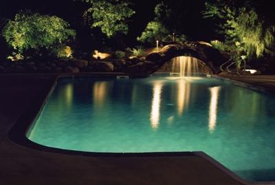 A well lit pool and surround means safety and beauty