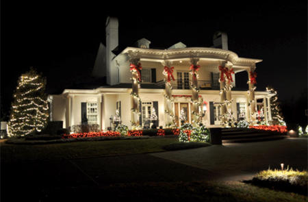 Nashville Outdoor Lighting Perspectives Georgian style mansion in Christmas lights copy