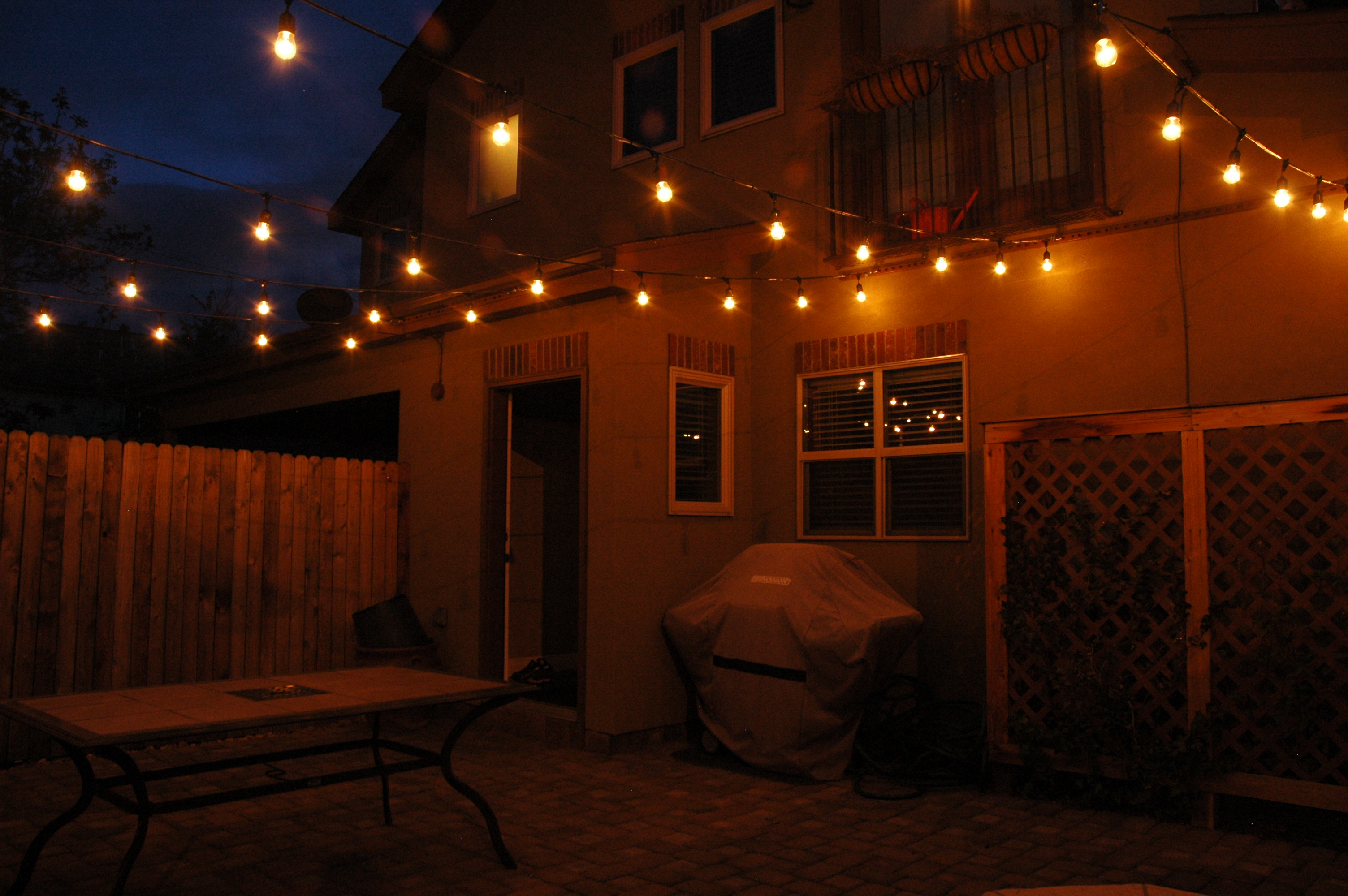 Permanent festival lighting for outdoor areas
