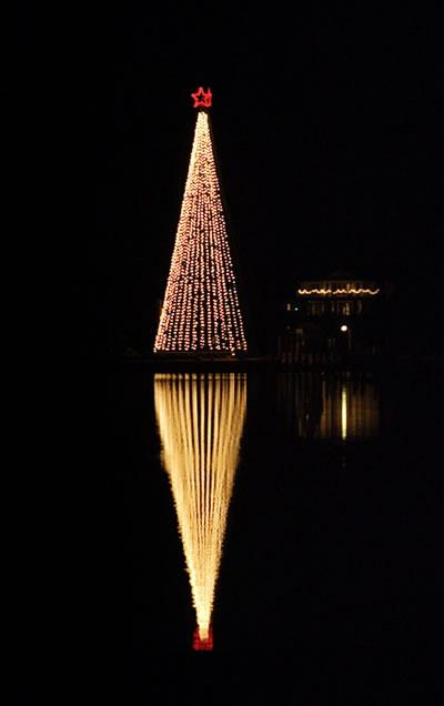 Nashville holiday lights strung in the shape of a tree on the waterfront