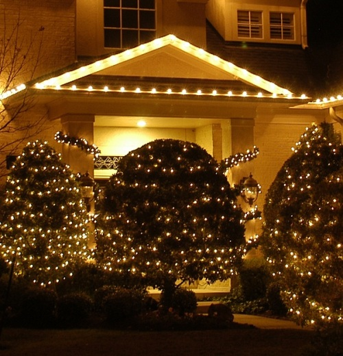 Nashville TN outdoor Christmas lights lighted trees and garlands