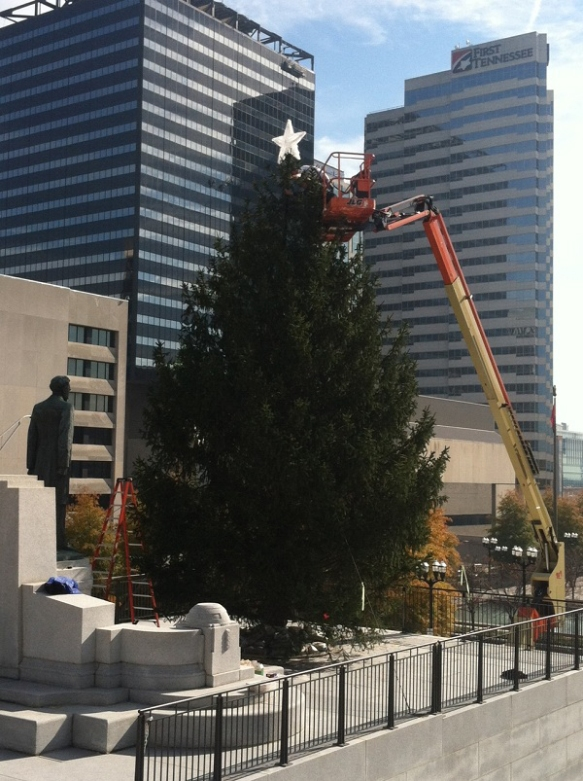 Outdoor Lighting Perspectives of Nashville places the star on the Capital tree at Legislative Plaza