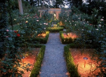 Nashville garden lighting in the rose garden