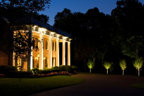 Belle Meade architectural LED lighting and tree lighting by Outdoor Lighting Perspectives of Nashville
