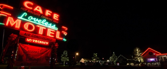 Holiday lighting adorns the entry of the Loveless Cafe