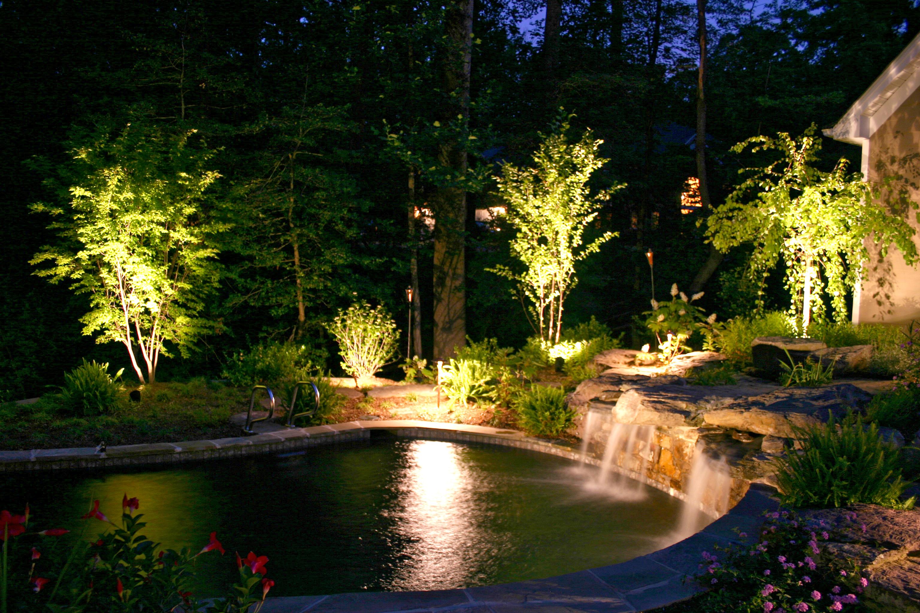Nashville romantic backyard pond lighting nashville outdoor nashville water feature lighting mozeypictures Images