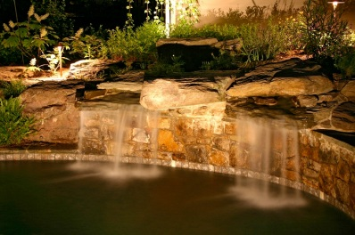 Nashville waterfall outdoor lighting