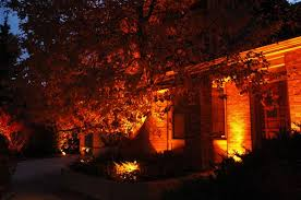 Lighting Effects with orange lens covers, photo courtesy of Outdoor Lighting Perspectives of Colorado