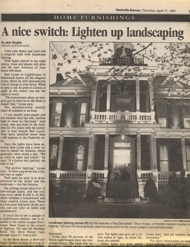 OLP 1997 article about Lightscapes in the Nashville Banner