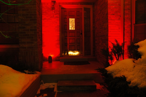 Red lens covers welcome the holiday season. Photo courtesy of Outdoor Lighting Perspectives of Colorado.