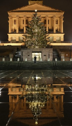Christmas tree at the capital Nashville TN by Outdoor Lighting Perspectives of Nashville