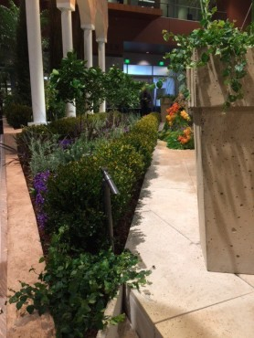 Nashville outdoor lighting working in unison with Siteworks hardscapes at 2015 Antique and Garden show