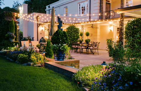 Nashville backyard festival lighting