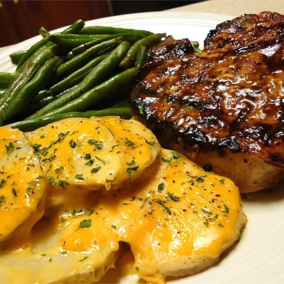 Grilled brown sugar pork chops.