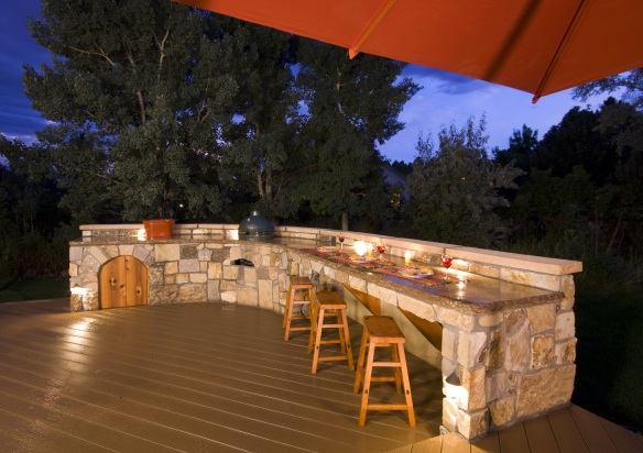 Task lighting over an outdoor kitchen makes food preparation effortless!