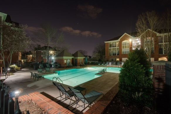 Pool area lighting at The Grove Apartments in Green Hills TN