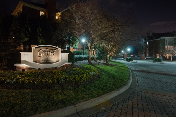 Nashville signage outdoor lighting for the Grove at Wentworth apartments in Green Hills TN
