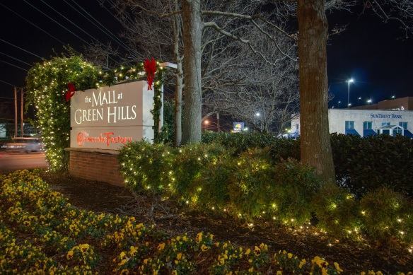 Holiday lighting at Green Hills Mall entrance