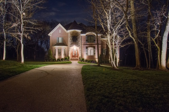 Brentwood TN architectural lighting on elegant home