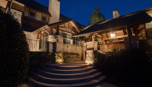 Nashville TN outdoor lighting on majestic home