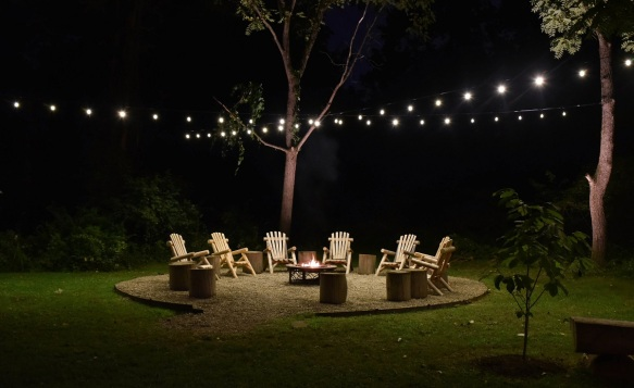 Festival Lighting Used Above Fire Pit